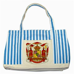 Kingdom Of Hawaii Coat Of Arms, 1850 1893 Striped Blue Tote Bag by abbeyz71