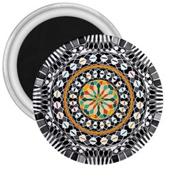 High Contrast Mandala 3  Magnets by linceazul