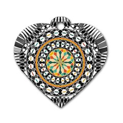 High Contrast Mandala Dog Tag Heart (one Side) by linceazul