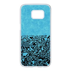 Modern Paperprint Turquoise Samsung Galaxy S7 Edge White Seamless Case by MoreColorsinLife