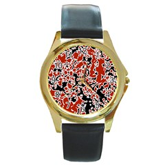 Splatter Abstract Texture Round Gold Metal Watch by dflcprints