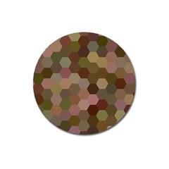 Brown Background Layout Polygon Magnet 3  (round) by Nexatart