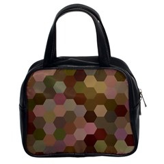 Brown Background Layout Polygon Classic Handbags (2 Sides) by Nexatart