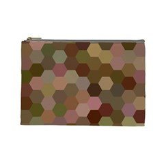 Brown Background Layout Polygon Cosmetic Bag (large)  by Nexatart