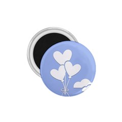 Clouds Sky Air Balloons Heart Blue 1 75  Magnets by Nexatart
