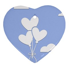Clouds Sky Air Balloons Heart Blue Heart Ornament (two Sides) by Nexatart