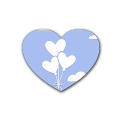 Clouds Sky Air Balloons Heart Blue Rubber Coaster (heart)  by Nexatart