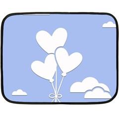 Clouds Sky Air Balloons Heart Blue Fleece Blanket (mini) by Nexatart