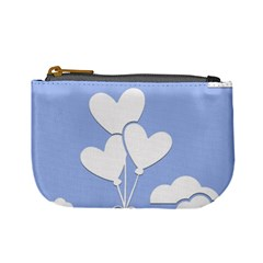 Clouds Sky Air Balloons Heart Blue Mini Coin Purses by Nexatart