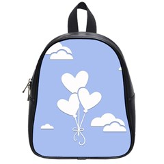 Clouds Sky Air Balloons Heart Blue School Bag (small) by Nexatart
