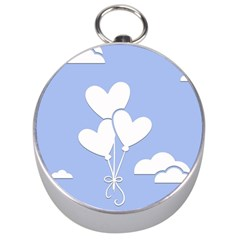 Clouds Sky Air Balloons Heart Blue Silver Compasses by Nexatart