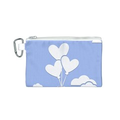 Clouds Sky Air Balloons Heart Blue Canvas Cosmetic Bag (s) by Nexatart