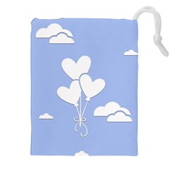 Clouds Sky Air Balloons Heart Blue Drawstring Pouches (xxl) by Nexatart