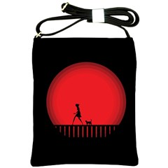 Girl Cat Scary Red Animal Pet Shoulder Sling Bags by Nexatart