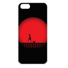 Girl Cat Scary Red Animal Pet Apple Iphone 5 Seamless Case (white) by Nexatart