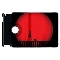 Girl Cat Scary Red Animal Pet Apple Ipad 2 Flip 360 Case by Nexatart