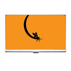 Angle Moon Scene Girl Wings Black Business Card Holders by Nexatart