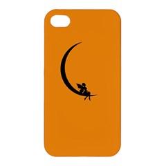 Angle Moon Scene Girl Wings Black Apple Iphone 4/4s Premium Hardshell Case by Nexatart