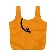 Angle Moon Scene Girl Wings Black Full Print Recycle Bags (m)  by Nexatart