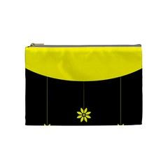 Flower Land Yellow Black Design Cosmetic Bag (medium)  by Nexatart