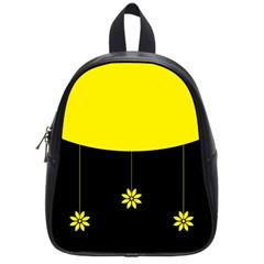 Flower Land Yellow Black Design School Bag (small) by Nexatart