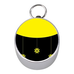 Flower Land Yellow Black Design Mini Silver Compasses by Nexatart