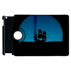 Ship Night Sailing Water Sea Sky Apple Ipad 3/4 Flip 360 Case by Nexatart