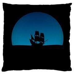 Ship Night Sailing Water Sea Sky Large Flano Cushion Case (two Sides) by Nexatart