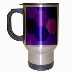 Purple Hexagon Background Cell Travel Mug (silver Gray) by Nexatart