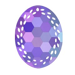 Purple Hexagon Background Cell Oval Filigree Ornament (two Sides) by Nexatart