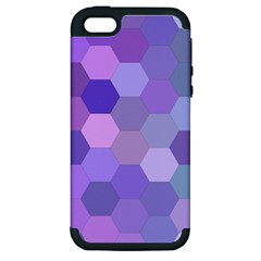 Purple Hexagon Background Cell Apple Iphone 5 Hardshell Case (pc+silicone) by Nexatart