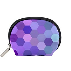 Purple Hexagon Background Cell Accessory Pouches (small)  by Nexatart