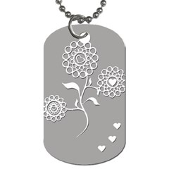 Flower Heart Plant Symbol Love Dog Tag (two Sides) by Nexatart