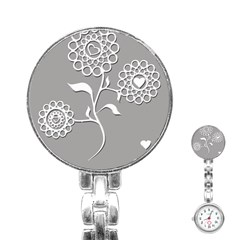 Flower Heart Plant Symbol Love Stainless Steel Nurses Watch by Nexatart