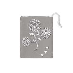 Flower Heart Plant Symbol Love Drawstring Pouches (small)  by Nexatart