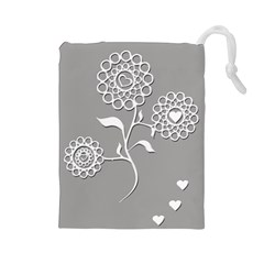 Flower Heart Plant Symbol Love Drawstring Pouches (large)  by Nexatart