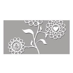 Flower Heart Plant Symbol Love Satin Shawl by Nexatart