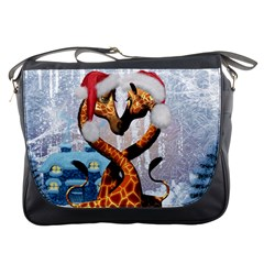 Christmas, Giraffe In Love With Christmas Hat Messenger Bags by FantasyWorld7