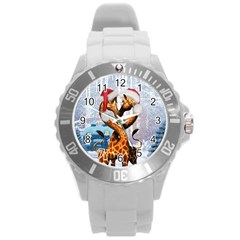 Christmas, Giraffe In Love With Christmas Hat Round Plastic Sport Watch (l) by FantasyWorld7