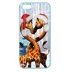 Christmas, Giraffe In Love With Christmas Hat Apple Seamless Iphone 5 Case (color) by FantasyWorld7