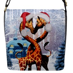 Christmas, Giraffe In Love With Christmas Hat Flap Messenger Bag (s) by FantasyWorld7