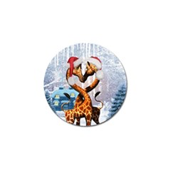 Christmas, Giraffe In Love With Christmas Hat Golf Ball Marker (4 Pack) by FantasyWorld7