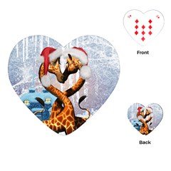 Christmas, Giraffe In Love With Christmas Hat Playing Cards (heart)  by FantasyWorld7