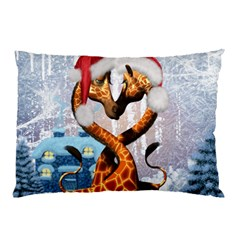 Christmas, Giraffe In Love With Christmas Hat Pillow Case by FantasyWorld7