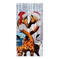Christmas, Giraffe In Love With Christmas Hat Shower Curtain 36  X 72  (stall)  by FantasyWorld7