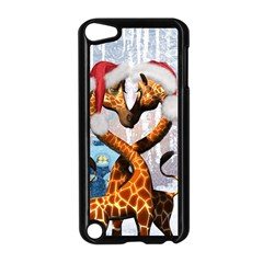 Christmas, Giraffe In Love With Christmas Hat Apple Ipod Touch 5 Case (black) by FantasyWorld7