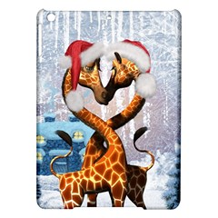 Christmas, Giraffe In Love With Christmas Hat Ipad Air Hardshell Cases by FantasyWorld7