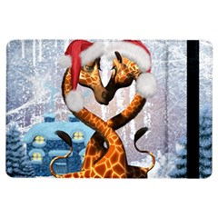 Christmas, Giraffe In Love With Christmas Hat Ipad Air Flip by FantasyWorld7