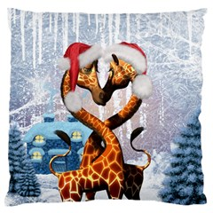Christmas, Giraffe In Love With Christmas Hat Standard Flano Cushion Case (two Sides) by FantasyWorld7