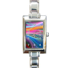 Rainbow Feather Rectangle Italian Charm Watch by AllOverIt